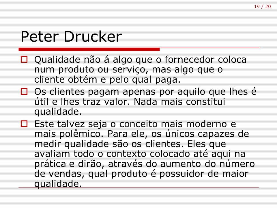 Peter Drucker Qualidade não á algo que o fornecedor coloca num produto ou serviço, mas algo que o cliente obtém e pelo qual paga.