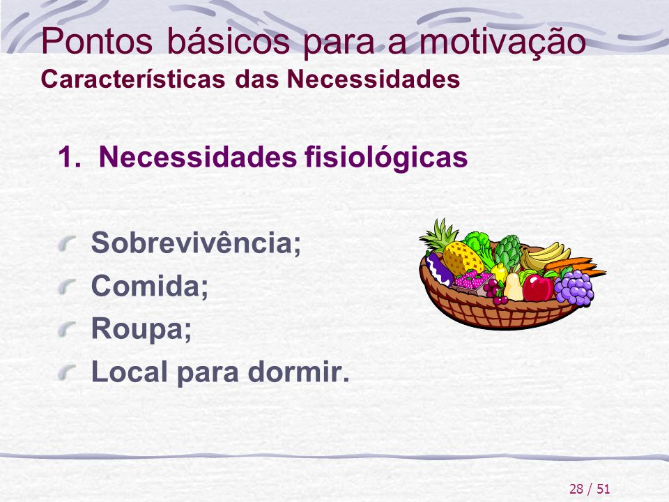 Pontos básicos para a motivação Características das Necessidades
