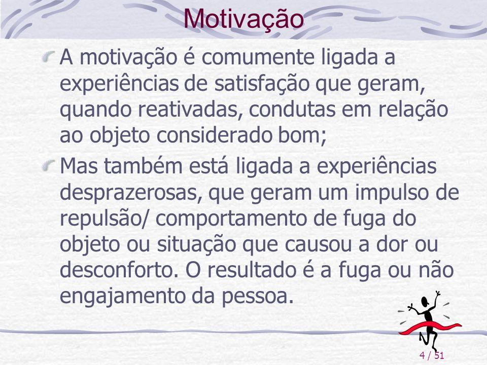 Motivação A motivação é comumente ligada a experiências de satisfação que geram, quando reativadas, condutas em relação ao objeto considerado bom;