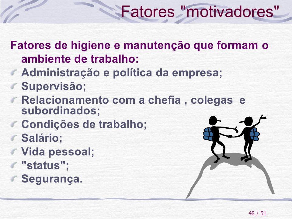 Fatores motivadores Fatores de higiene e manutenção que formam o ambiente de trabalho: Administração e política da empresa;