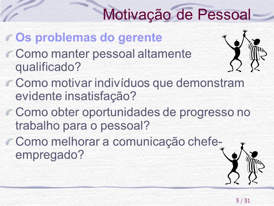 Motivação de Pessoal Os problemas do gerente