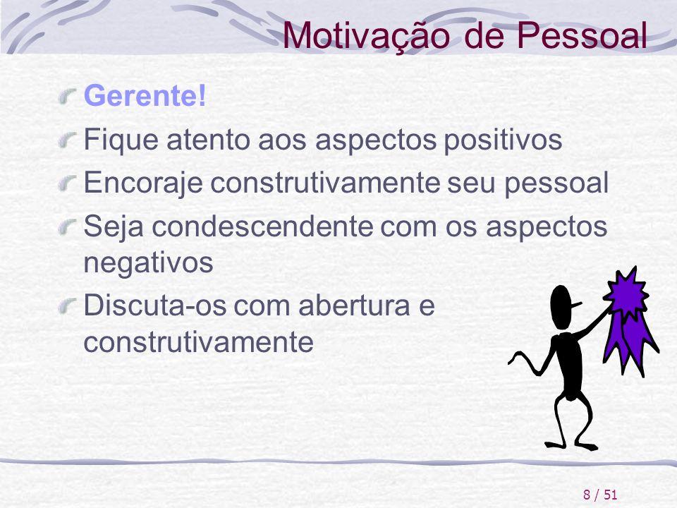 Motivação de Pessoal Gerente! Fique atento aos aspectos positivos