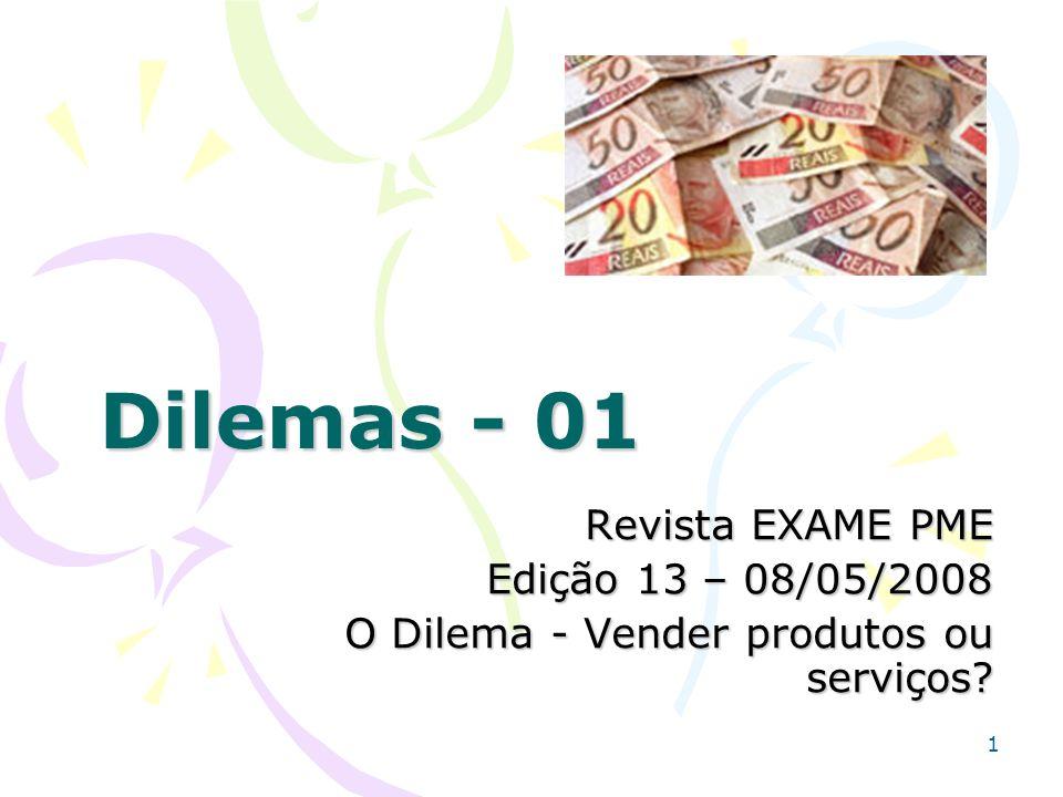 Dilemas - 01 Revista EXAME PME Edição 13 – 08/05/2008