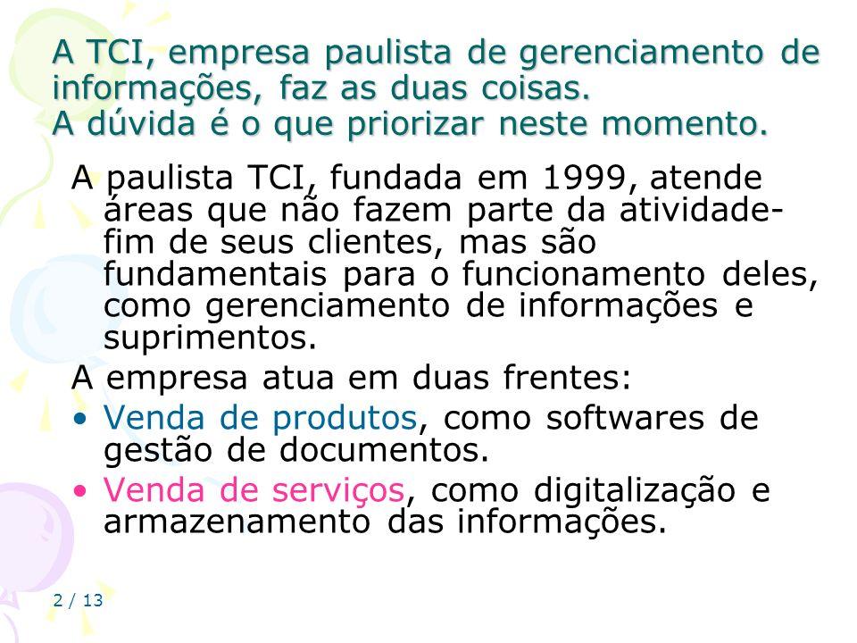 A TCI, empresa paulista de gerenciamento de informações, faz as duas coisas. A dúvida é o que priorizar neste momento.