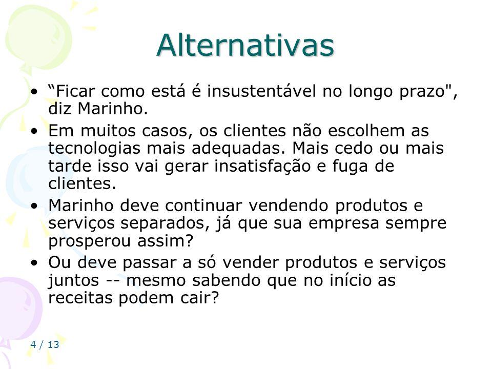 Alternativas Ficar como está é insustentável no longo prazo , diz Marinho.