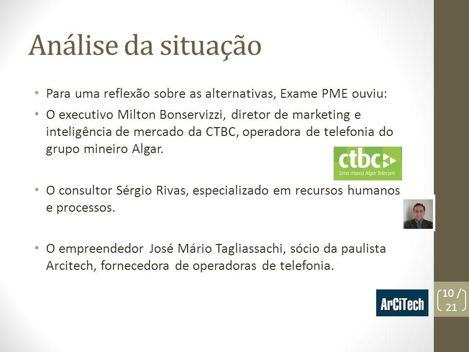 Análise da situaçãoPara uma reflexão sobre as alternativas, Exame PME ouviu:
