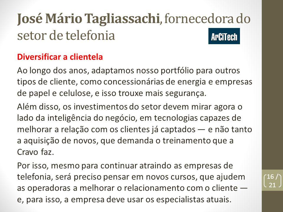 José Mário Tagliassachi, fornecedora do setor de telefonia