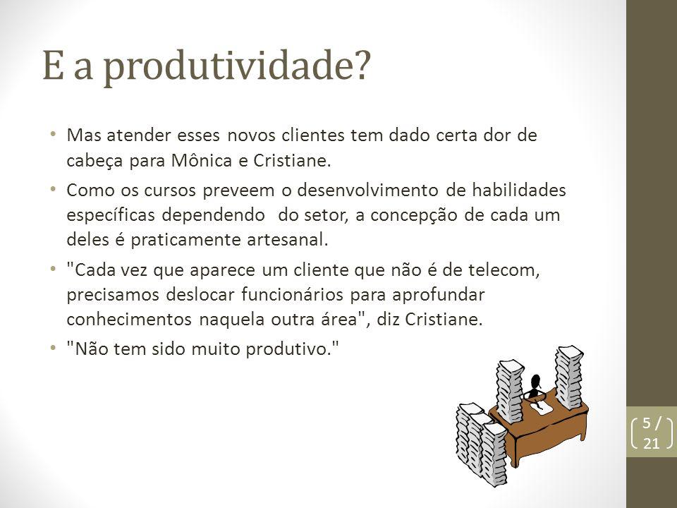 E a produtividade Mas atender esses novos clientes tem dado certa dor de cabeça para Mônica e Cristiane.