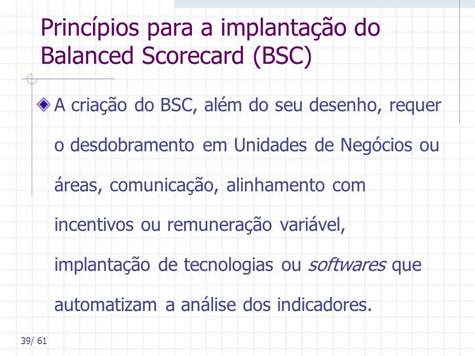Princípios para a implantação do Balanced Scorecard (BSC)