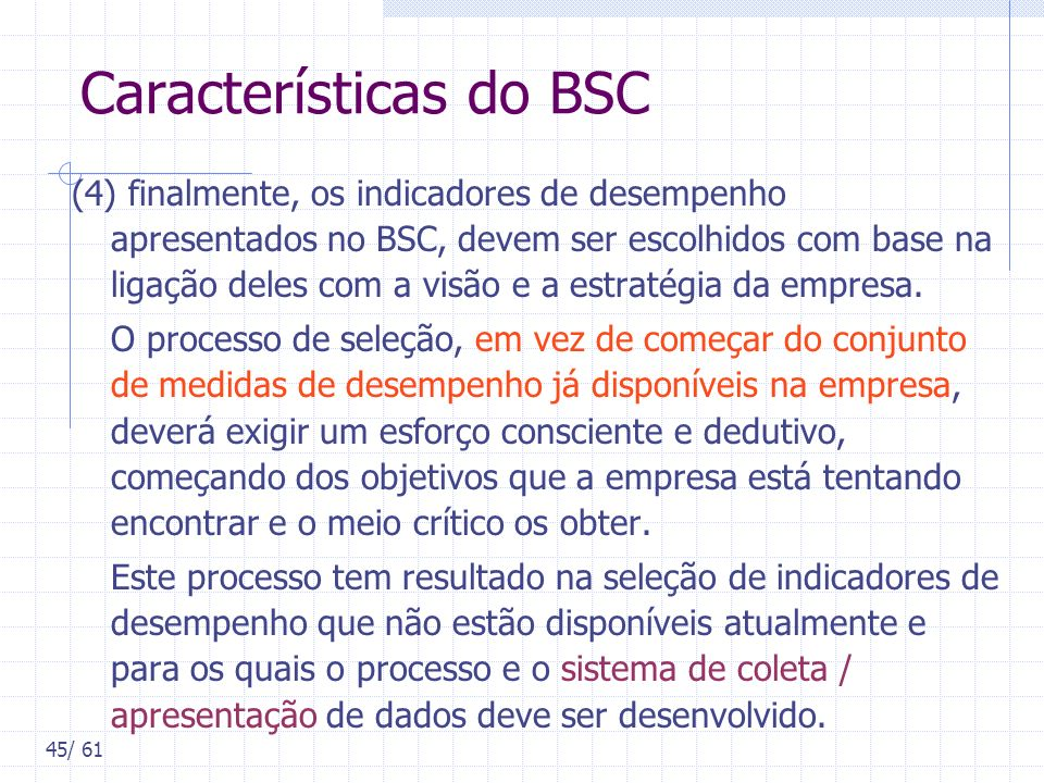 Características do BSC
