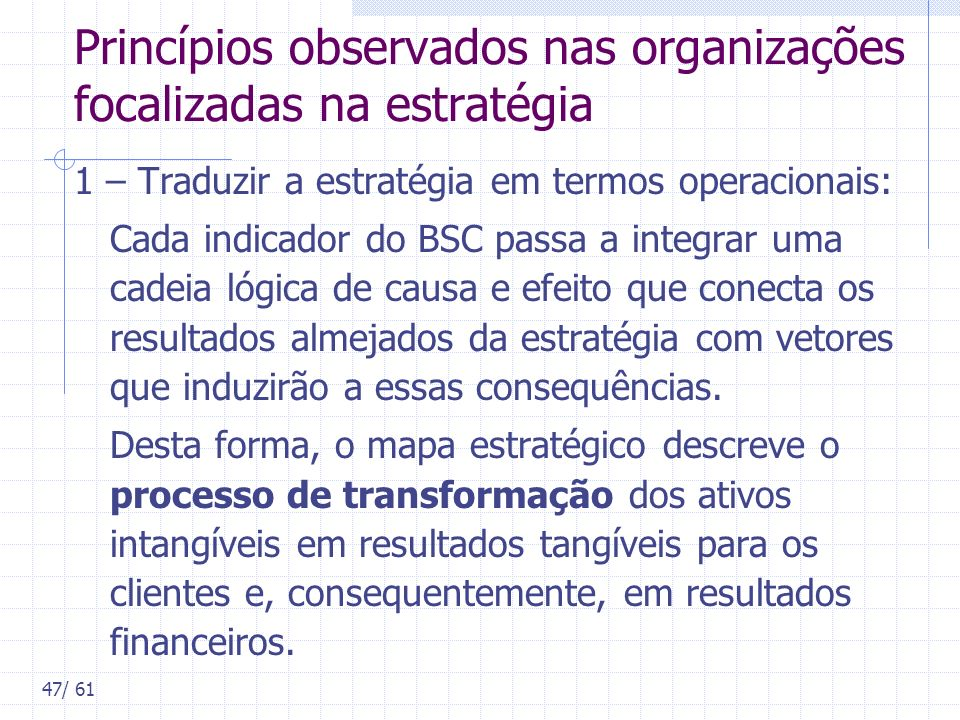 Princípios observados nas organizações focalizadas na estratégia