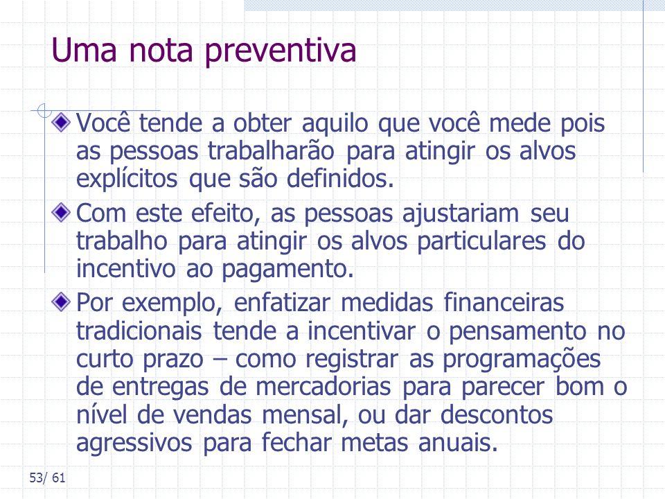 Uma nota preventivaVocê tende a obter aquilo que você mede pois as pessoas trabalharão para atingir os alvos explícitos que são definidos.
