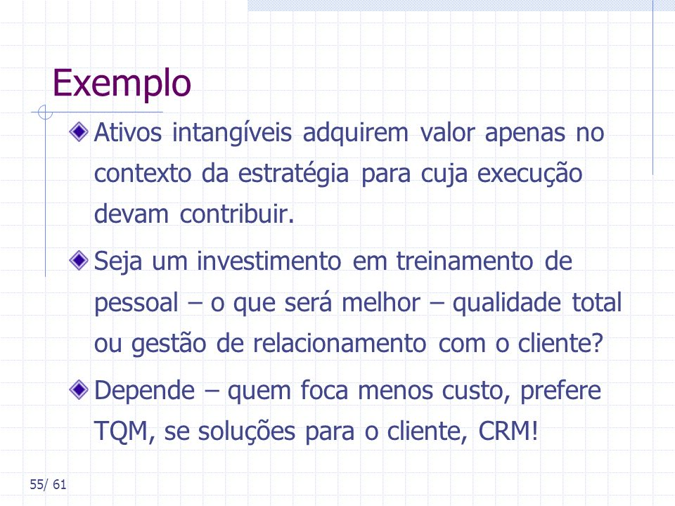 Exemplo Ativos intangíveis adquirem valor apenas no contexto da estratégia para cuja execução devam contribuir.