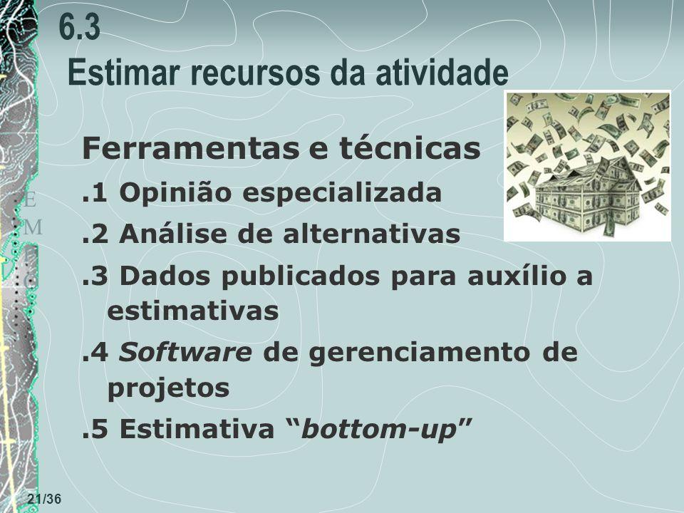 6.3 Estimar recursos da atividade
