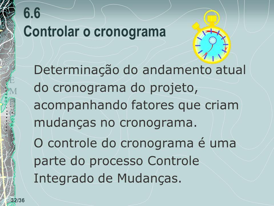 6.6 Controlar o cronograma