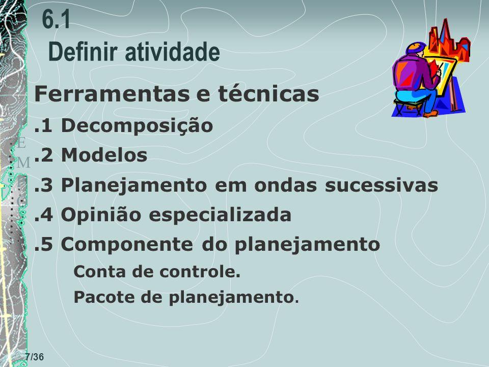 6.1 Definir atividade Ferramentas e técnicas .1 Decomposição