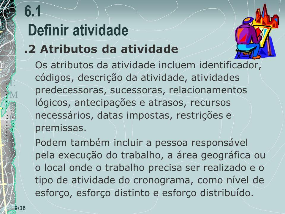 6.1 Definir atividade .2 Atributos da atividade