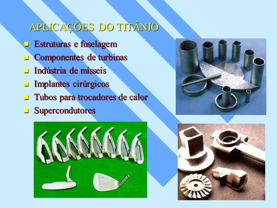 APLICAÇÕES DO TITÂNIO Estruturas e fuselagem Componentes de turbinas