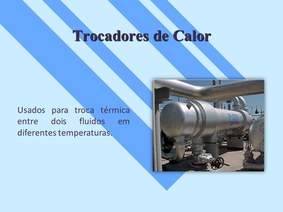Trocadores de Calor Usados para troca térmica entre dois fluidos em diferentes temperaturas.