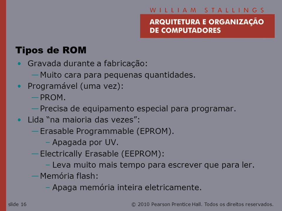 Tipos de ROM Gravada durante a fabricação: