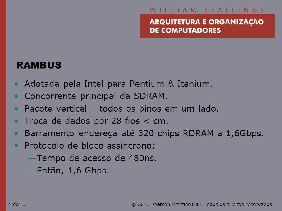 RAMBUS Adotada pela Intel para Pentium & Itanium.