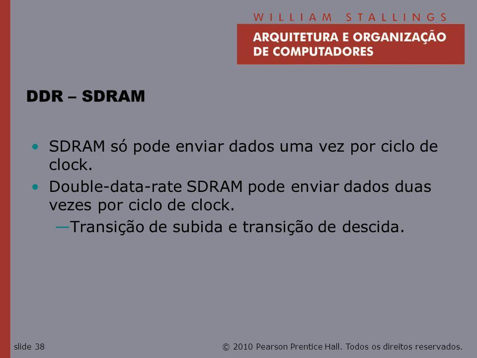 DDR – SDRAM SDRAM só pode enviar dados uma vez por ciclo de clock.