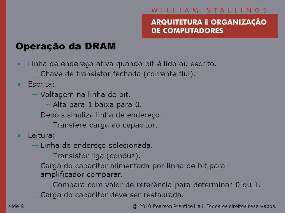 Operação da DRAM Linha de endereço ativa quando bit é lido ou escrito.
