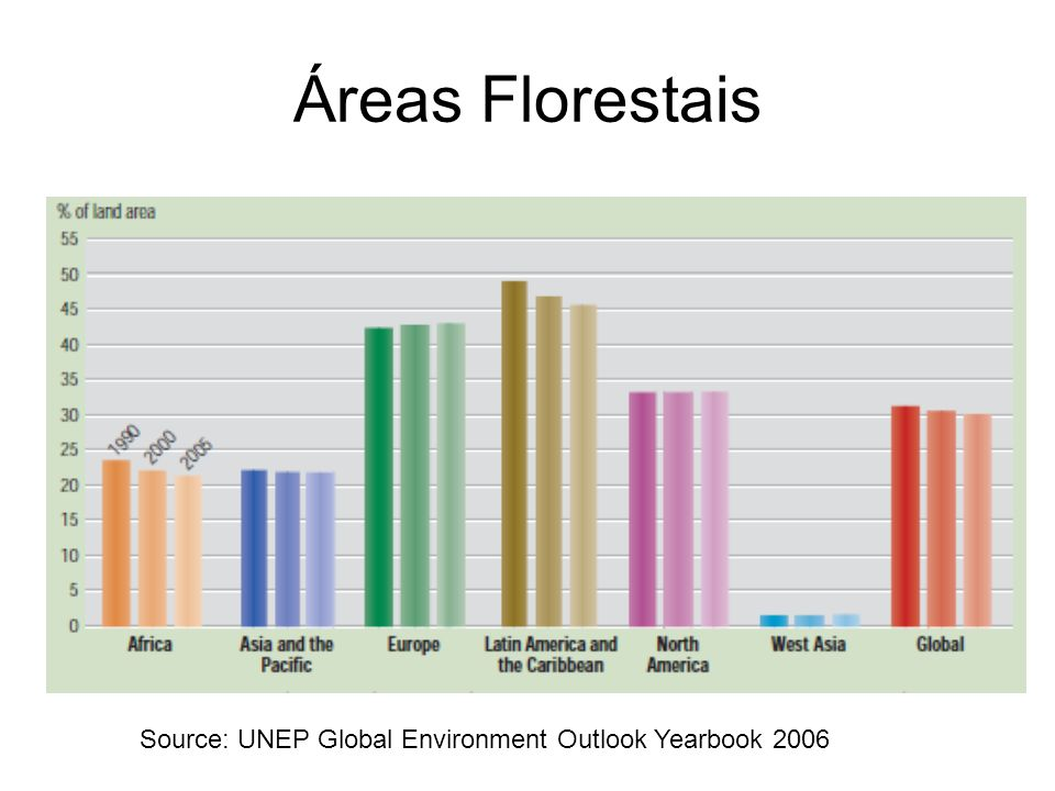 Áreas Florestais Source: UNEP Global Environment Outlook Yearbook 2006