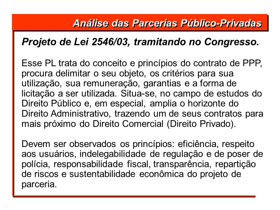Análise das Parcerias Público-Privadas