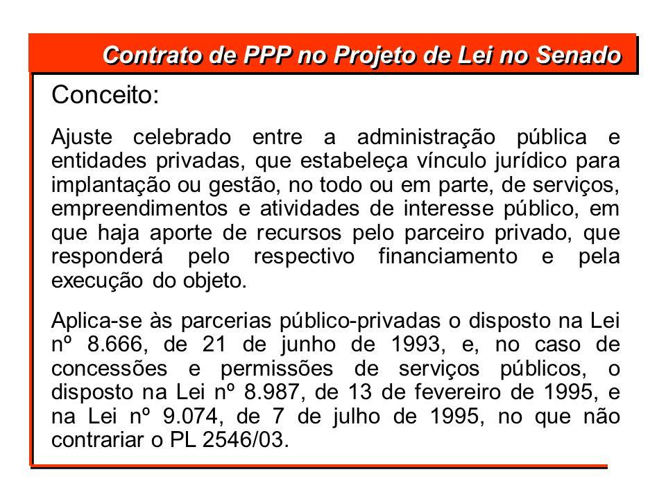 Conceito: Contrato de PPP no Projeto de Lei no Senado