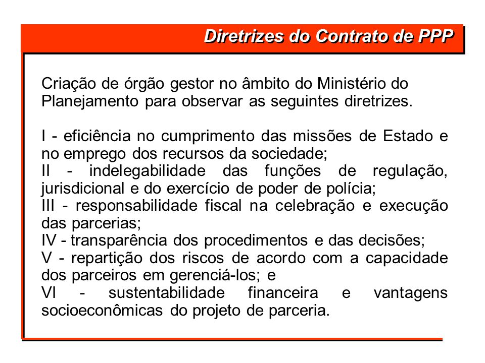 Diretrizes do Contrato de PPP