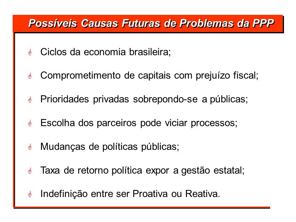 Possíveis Causas Futuras de Problemas da PPP