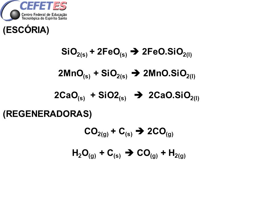 SiO2(s) + 2FeO(s)  2FeO.SiO2(l) 2MnO(s) + SiO2(s)  2MnO.SiO2(l)