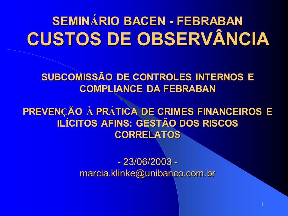 SEMINÁRIO BACEN - FEBRABAN CUSTOS DE OBSERVÂNCIA SUBCOMISSÃO DE CONTROLES INTERNOS E COMPLIANCE DA FEBRABAN PREVENÇÃO À PRÁTICA DE CRIMES FINANCEIROS E ILÍCITOS AFINS: GESTÃO DOS RISCOS CORRELATOS - 23/06/2003 - marcia.klinke@unibanco.com.br