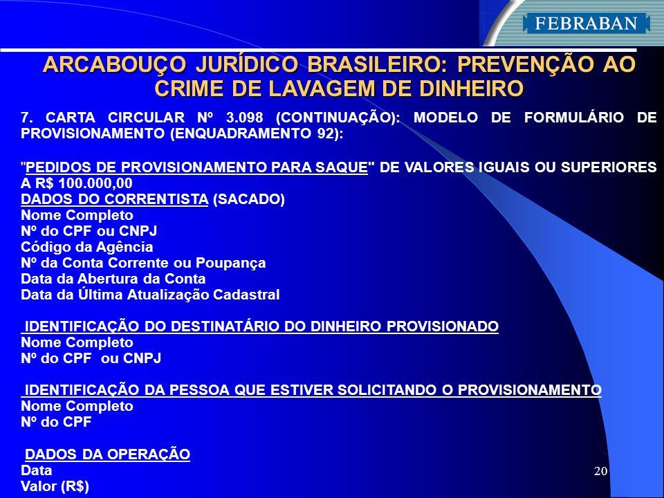 ARCABOUÇO JURÍDICO BRASILEIRO: PREVENÇÃO AO CRIME DE LAVAGEM DE DINHEIRO