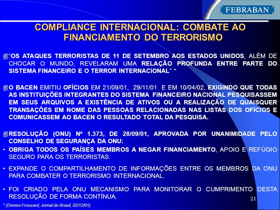 COMPLIANCE INTERNACIONAL: COMBATE AO FINANCIAMENTO DO TERRORISMO