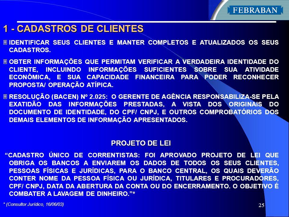 1 - CADASTROS DE CLIENTES