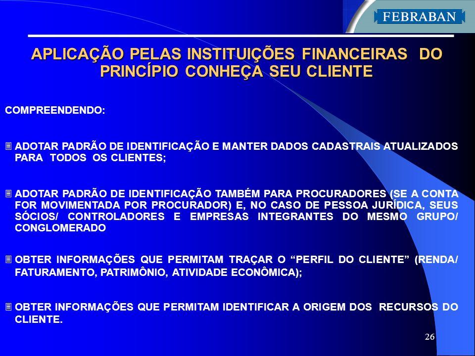 APLICAÇÃO PELAS INSTITUIÇÕES FINANCEIRAS DO PRINCÍPIO CONHEÇA SEU CLIENTE