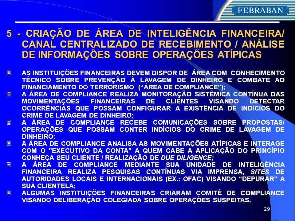 5 - CRIAÇÃO DE ÁREA DE INTELIGÊNCIA FINANCEIRA/ CANAL CENTRALIZADO DE RECEBIMENTO / ANÁLISE DE INFORMAÇÕES SOBRE OPERAÇÕES ATÍPICAS