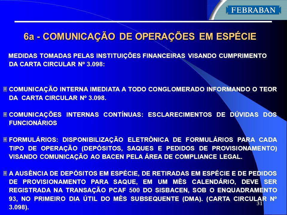 6a - COMUNICAÇÃO DE OPERAÇÕES EM ESPÉCIE