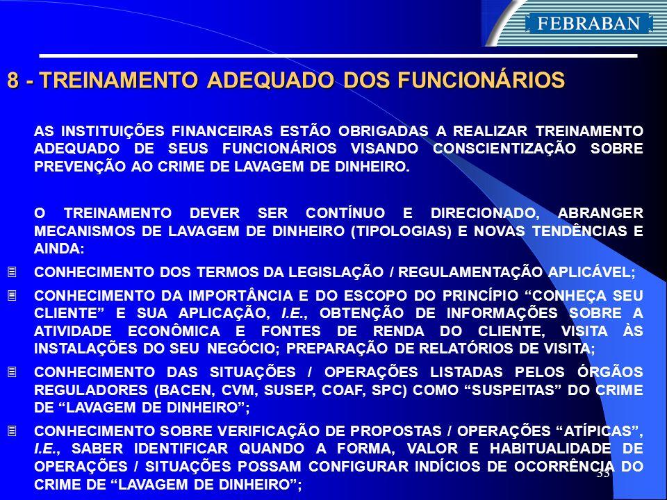 8 - TREINAMENTO ADEQUADO DOS FUNCIONÁRIOS