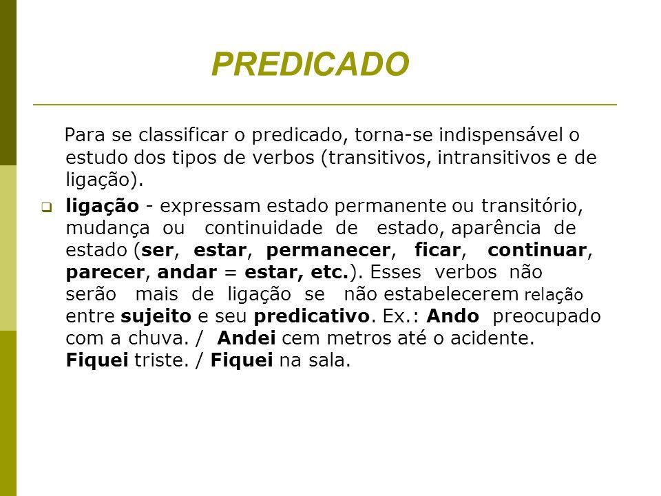 PREDICADO Para se classificar o predicado, torna-se indispensável o estudo dos tipos de verbos (transitivos, intransitivos e de ligação).