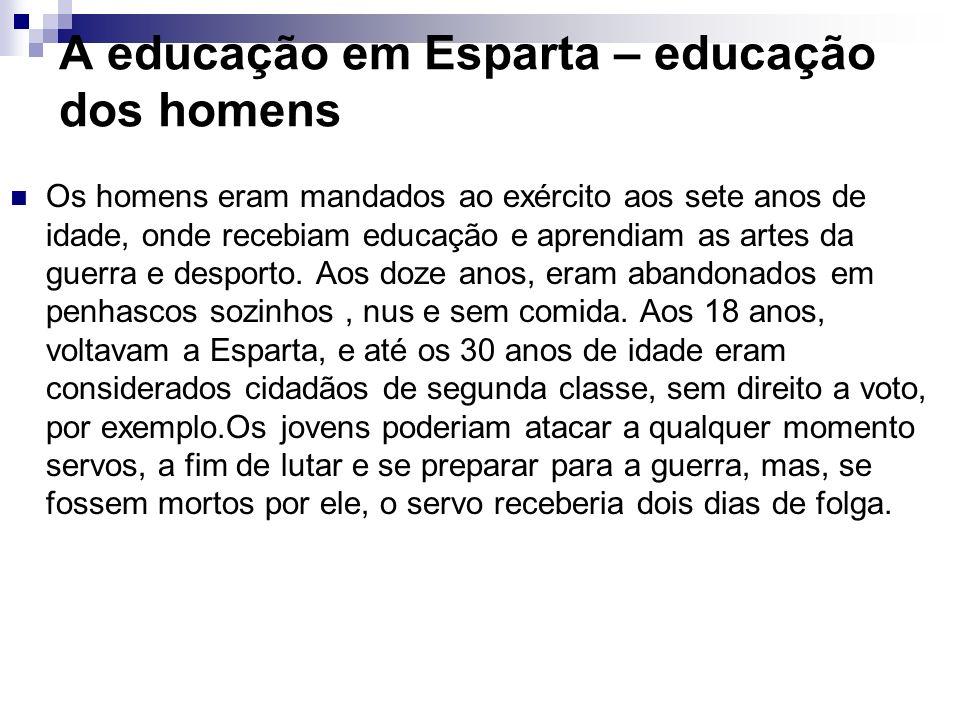 A educação em Esparta – educação dos homens