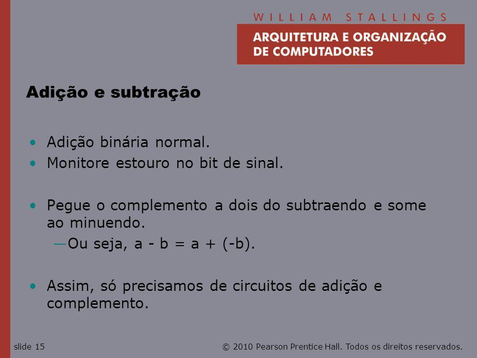 Adição e subtração Adição binária normal.