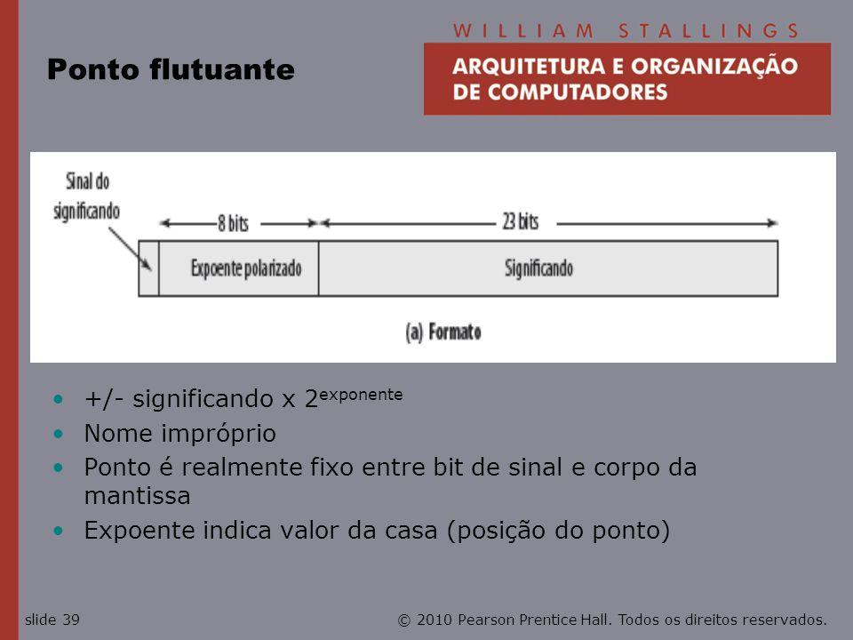 Ponto flutuante +/- significando x 2exponente Nome impróprio