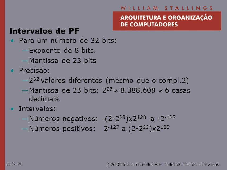 Intervalos de PF Para um número de 32 bits: Expoente de 8 bits.