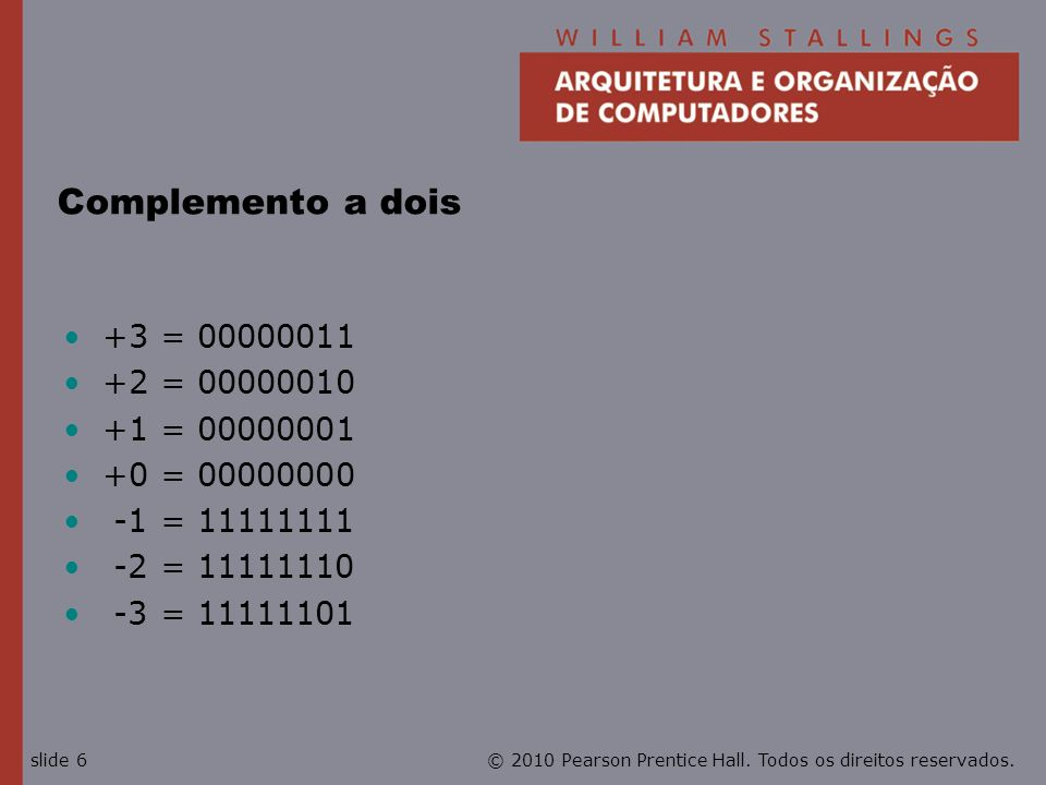 Complemento a dois +3 = 00000011 +2 = 00000010 +1 = 00000001
