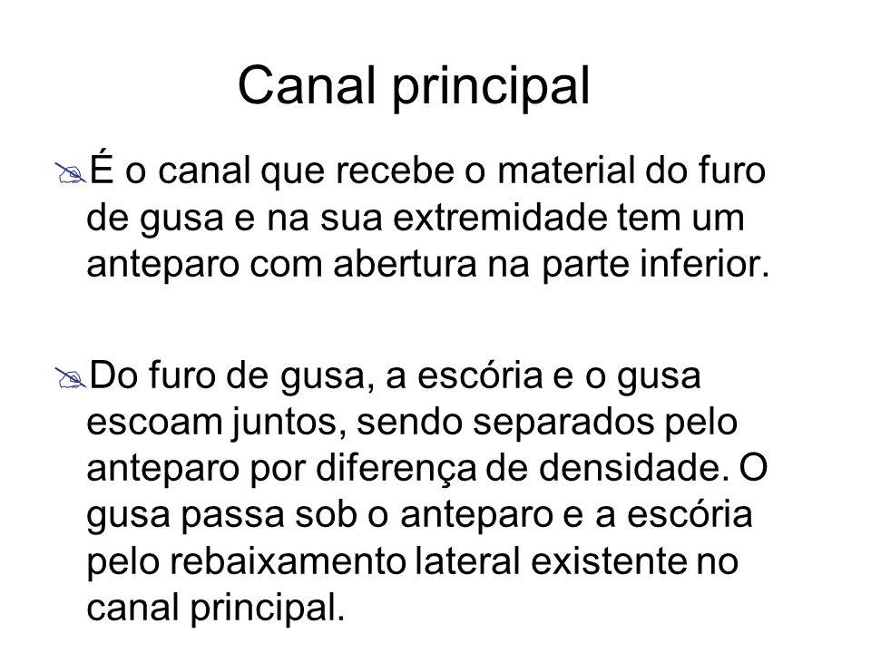 Canal principal É o canal que recebe o material do furo de gusa e na sua extremidade tem um anteparo com abertura na parte inferior.