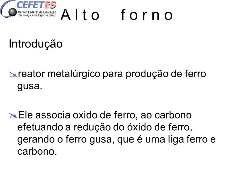 A l t o f o r n o Introdução. reator metalúrgico para produção de ferro gusa.