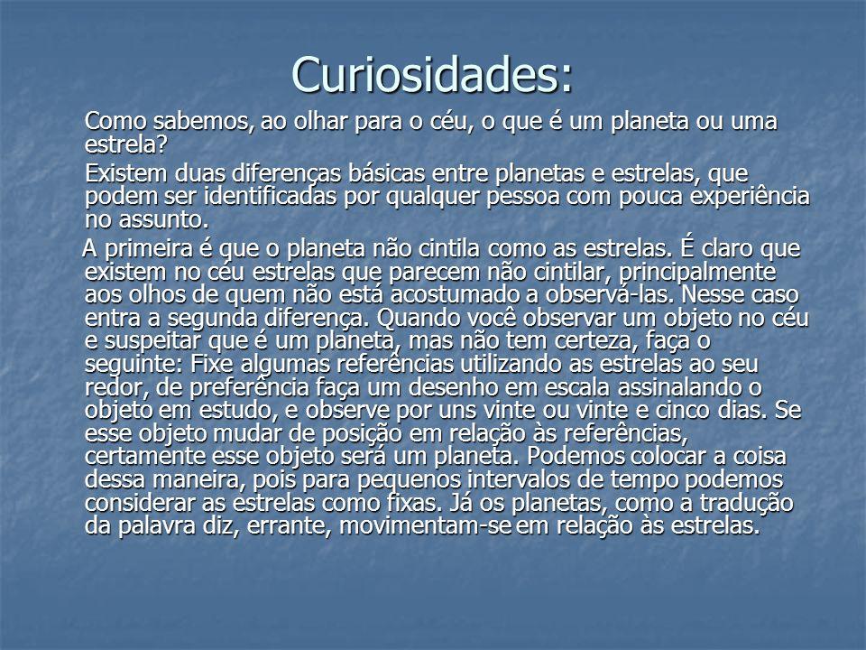 Curiosidades: Como sabemos, ao olhar para o céu, o que é um planeta ou uma estrela